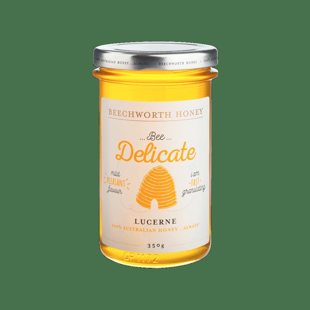 BDLUCEJAR350 _Beechworth-Honey-Bee-Delicate-Lucerne-Jar